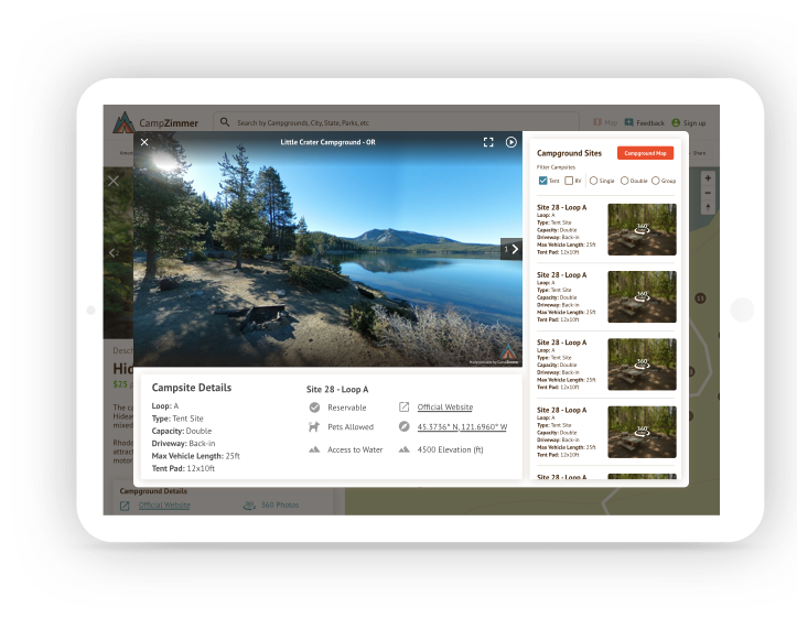 Screenshot of campzimmer product on tablet